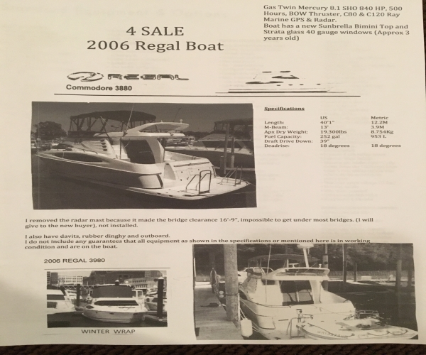 Used Regal 38 Boats For Sale by owner | 2006 Regal Commodore 3880